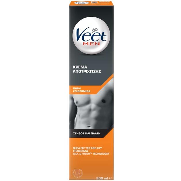 Veet Men Κρέμα Αποτρίχωσης για Στήθος & Πλάτη για Ξηρή Επιδερμίδα 200ml