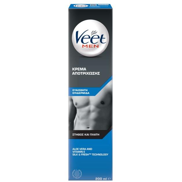 Veet Men Κρέμα Αποτρίχωσης για Στήθος & Πλάτη για Ευαίσθητη Επιδερμίδα 200ml