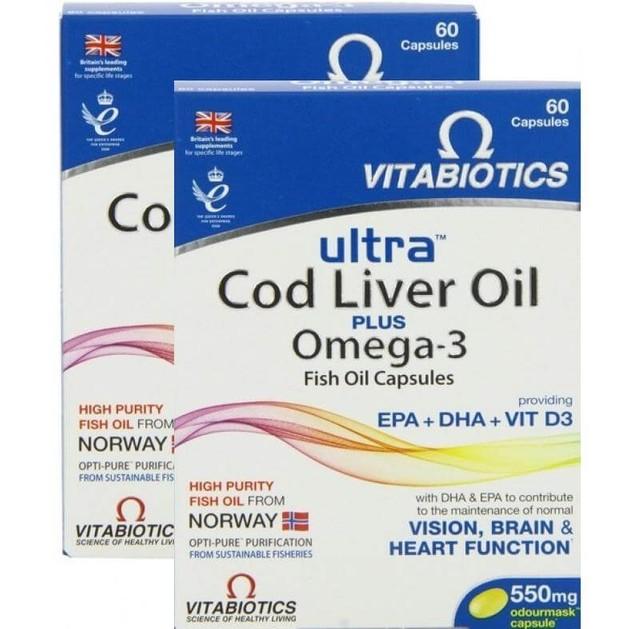 Vitabiotics Ultra Cod Liver Oil Plus Omega 3 Πακέτο 1+1 Δώρο 60+60caps