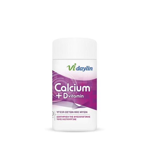 Abbott Vi-Daylin Calcium + D Vitamin Μη Επικαλυμμένα Δισκία Ασβεστίου και Βιταμίνης D 60Tabs
