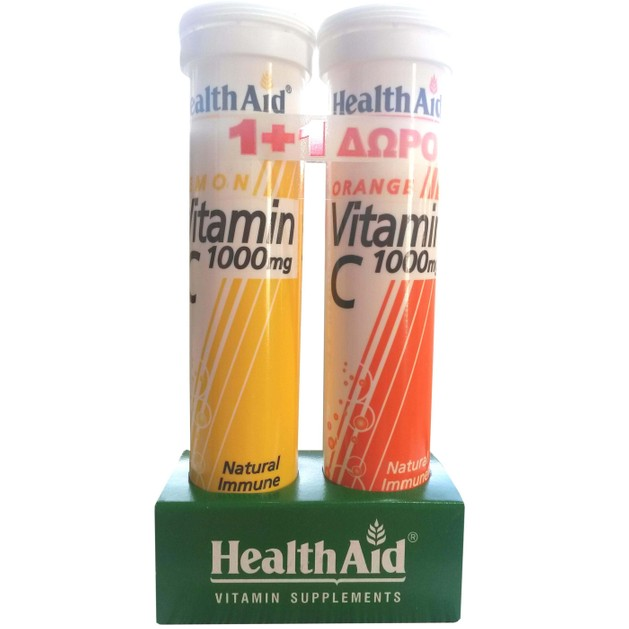 Health Aid Πακέτο Προσφοράς Vitamin C 1000mg Lemon 20eff.tabs + Δώρο Vit C Orange 1000mg 20eff.tabs