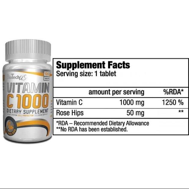 Biotech Usa Vitamin C1000 + Rosehips  Σημαντικό Αντιοξειδωτικό 100tabs