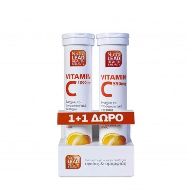 Nutralead Βιταμίνη C 1000mg 20 Αναβρ.Δισκία + Δώρο Βιταμίνη C 550mg 20 Αναβρ. Δισκία