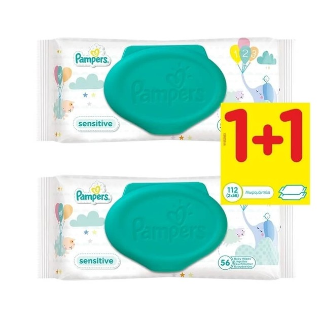 Pampers Πακέτο Προσφοράς Sensitive Wipes 1+1 Δώρο, 2 x 56τμχ