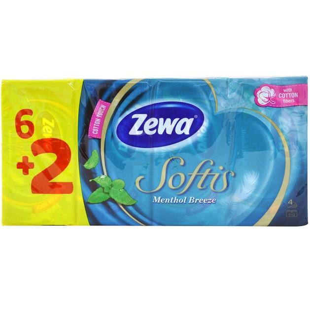 Zewa Softis Menthol Breeze Χαρτομάντηλα Τσέπης, 6+2τμχ