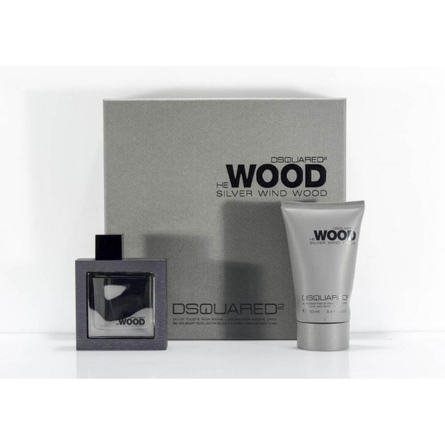 DSQUARED² He WOOD Silver Wind Set Pour Homme (EDT 50ml + Hair & Body Wash Shampoo 100ml)