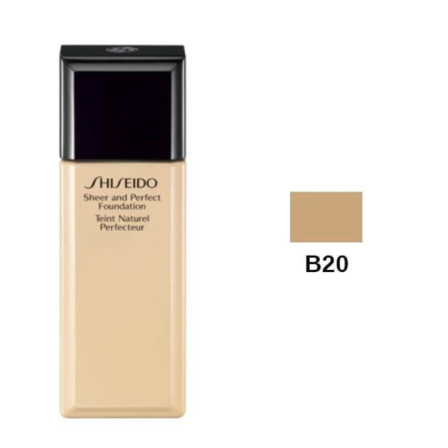 Shiseido Sheer and Perfect Foundation B20 Natural Light Beige 30ml SPF15