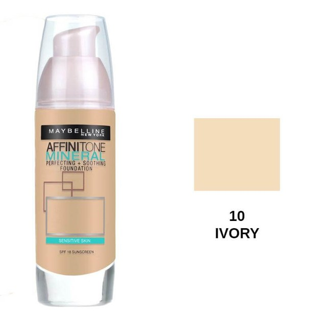 Maybelline Affinitone Mineral Perfecting and soothing Foundation 10 Ivory SPF18 30ml