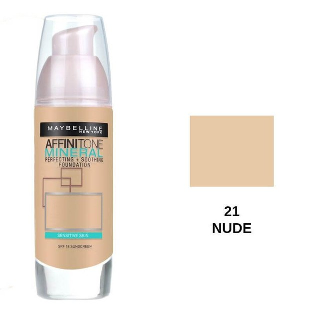 Maybelline Affinitone Mineral Perfecting and Soothing Foundation 21 Nude SPF18 30ml