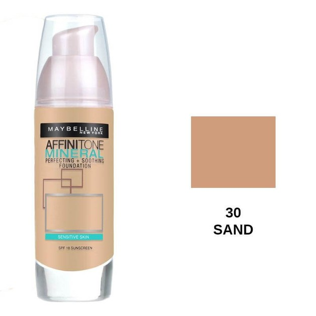 Maybelline Affinitone Mineral Perfecting and Soothing Foundation 30 Sand SPF18 30ml
