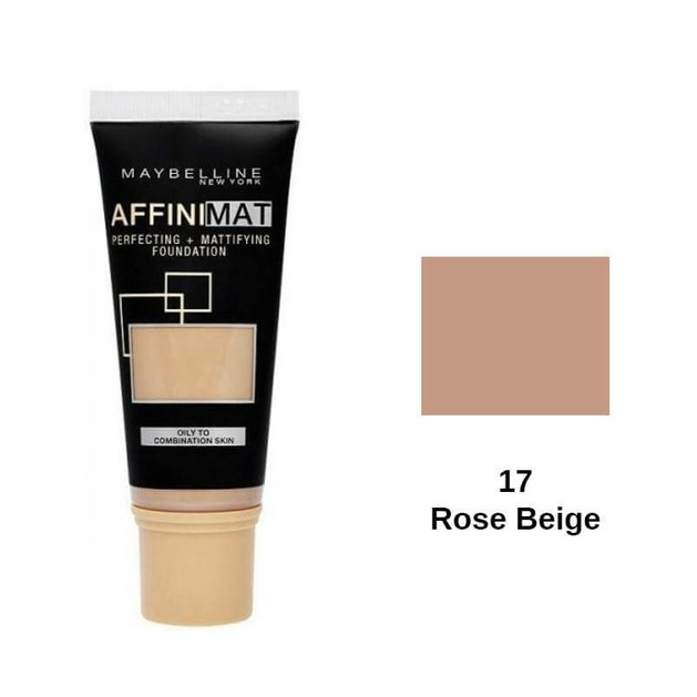 Maybelline Affinimat Perfecting and Mattifying Foundation 17 Rose Beige SPF17 30ml