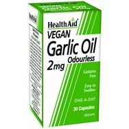 Health Aid Garlic Oil Odourless 2mg 30Caps,Συμπλήρωμα Διατροφής Έλαιο Σκόρδου σε Άοσμη Κάψουλα