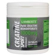 Lamberts Creatine Συμπλήρωμα Διατροφής με Καθαρή Μονουδρική Κρεατίνη για Μεγάλο Εύρος Ειδών Σωματικής Άσκησης 1000mg 250tabs