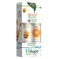 Power Health Multi + Multi με Στέβια 24Effer.Tabs & Βιταμίνη C 500mg 20Effer.Tabs 1+1 Δώρο