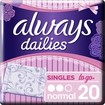 Always Dailies Singles to go Normal Λεπτά, Διακριτικά Σερβιετάκια 20 Τεμάχια