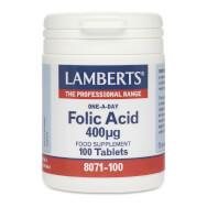 Lamberts Folic Acid Συμπλήρωμα Διατροφής για Σύνθεση του DNA και του RNA 400 mcg 100 tabs